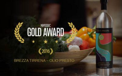 Brezza Tirrena Olio Presto wins NYIOOC Gold Award